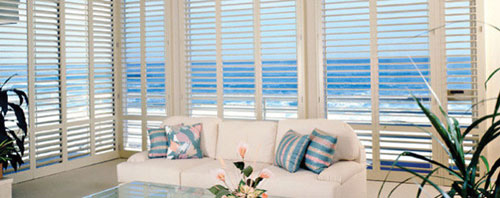 plantation shutters with a great tropical ocean view